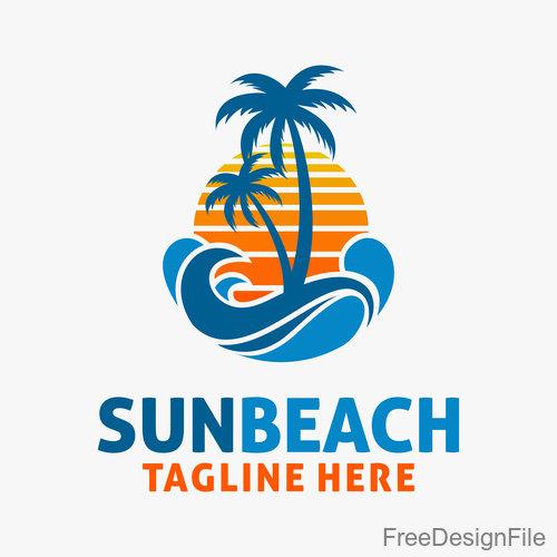 Sun beach logo design vectors 05