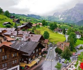 Switzerlands beautiful town Grindelwald Stock Photo 04