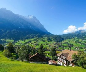 Switzerlands beautiful town Grindelwald Stock Photo 06
