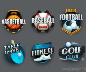 Table tennis with basketball and football labels design vector