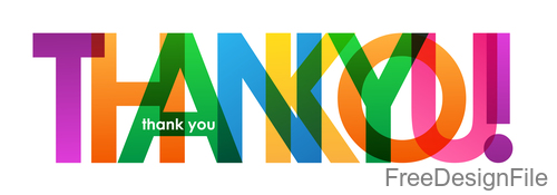 Text overlapping thank you design vector