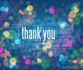 Thanks you with Tag Cloud Blue Bokeh Lights vector background