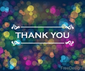 Thanks you with blue bokeh background vector 01