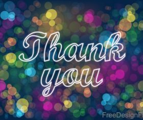 Thanks you with blue bokeh background vector 02