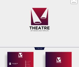 Theatre logo and business card template vector 01