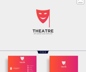 Theatre logo and business card template vector 03