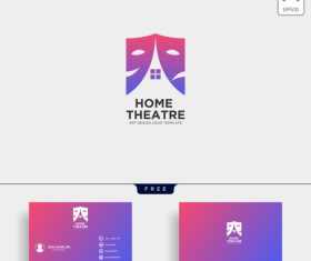 Theatre logo and business card template vector 04