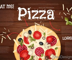 Tomato with pizza and wooden background vector 01