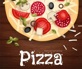 Tomato with pizza and wooden background vector 02