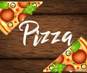 Tomato with pizza and wooden background vector 03