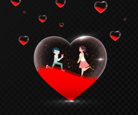 Transparent heart with valentines day lover vectors