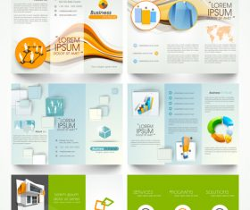 Trifold business brochures template vector set 01