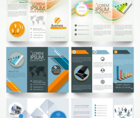 Trifold business brochures template vector set 02
