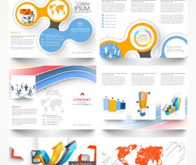 Trifold business brochures template vector set 03
