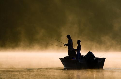 Two fishing men Stock Photo