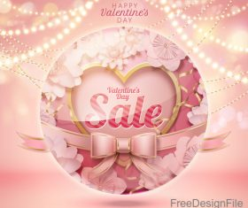 Valentine sale background with pink bows vector