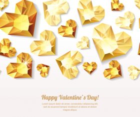 Valentines Day golden diamond heart vector