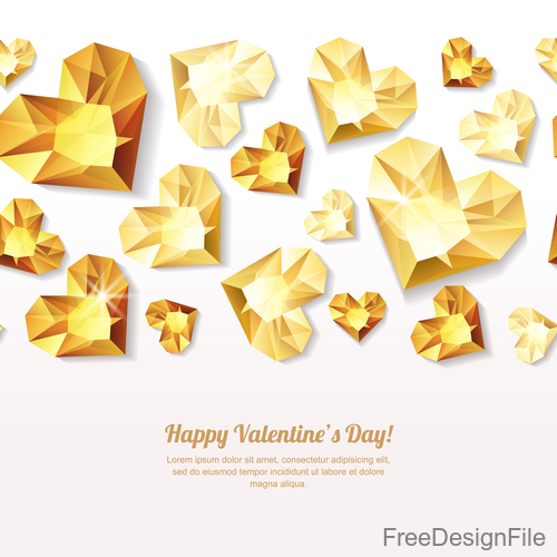 Valentines Day golden diamond heart vector