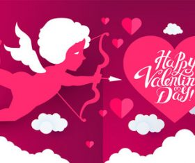 Valentines background with kids vector