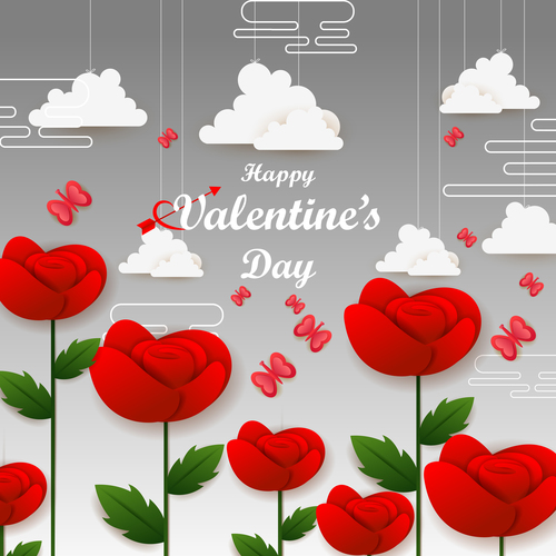Valentines background with red flower and white cloud vector