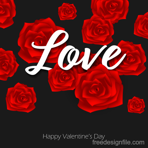 Valentines black background with red rose vector