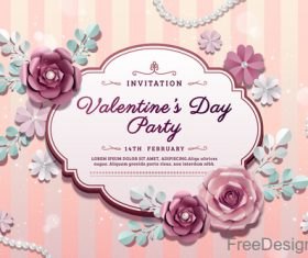 Valentines card and beautiful flowers vector