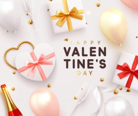 Valentines card with gift box and pink balloon vector