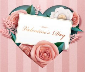 Valentines card with heart and rose vector