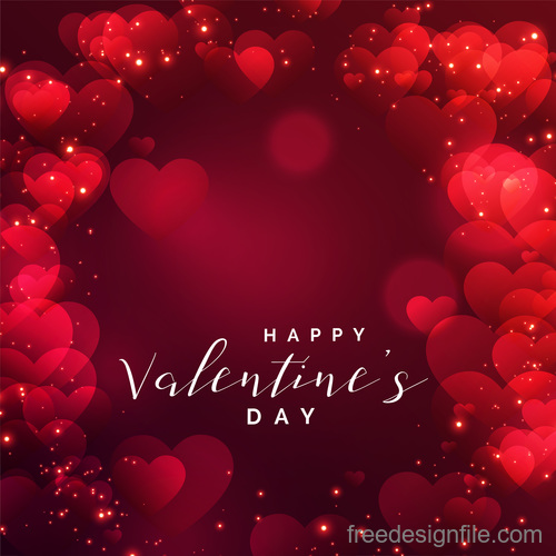 Valentines day background with blurs heart vectors