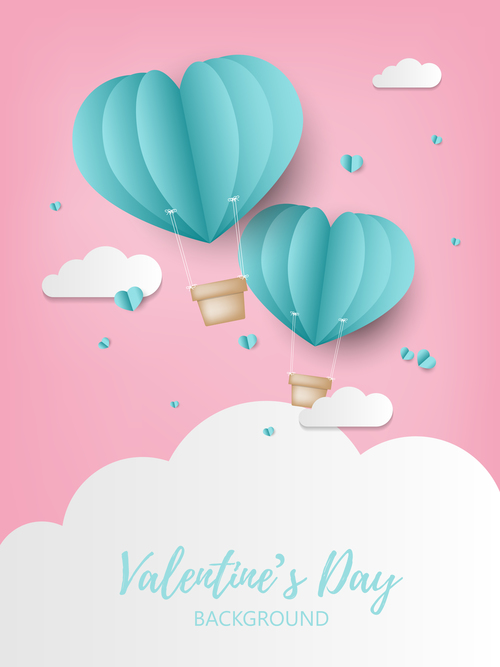 Valentines day background with paper hot balloon vector