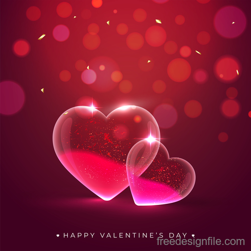 Valentines day background with transparent heart vector