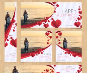 Valentines day card tamplate vector kit 02