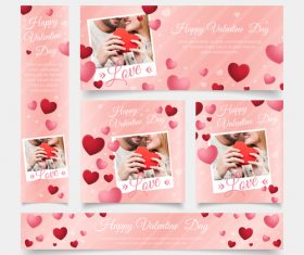 Valentines day card tamplate vector kit 05