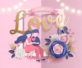 Valentines day card with romantic lovers vector
