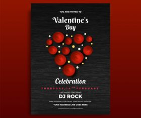 Valentines day celebration flyer template vector