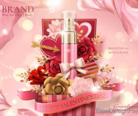 Valentines day cosmetics ads poster template vectors 02