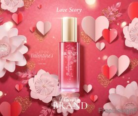 Valentines day cosmetics ads poster template vectors 03