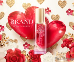 Valentines day cosmetics ads poster template vectors 04