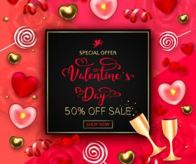 Valentines day discount sale poster vector material 06