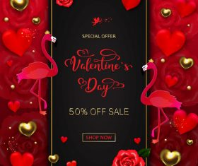 Valentines day discount sale poster vector material 07