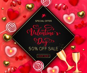 Valentines day discount sale poster vector material 08