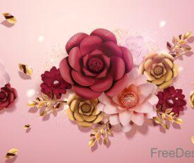 Valentines day flower background design vector 01