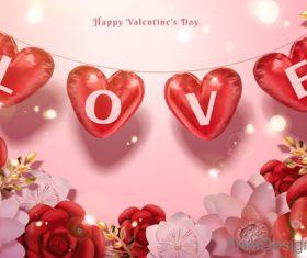 Valentines day flower background design vector 03