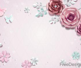 Valentines day flower background design vector 07
