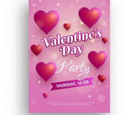 Valentines day flyer with poster template vector