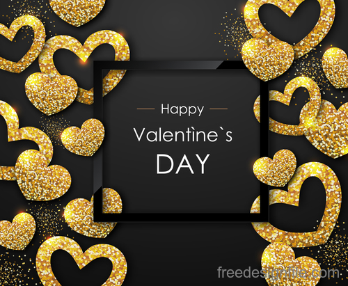 Valentines day frame with golden confetti vectors 01