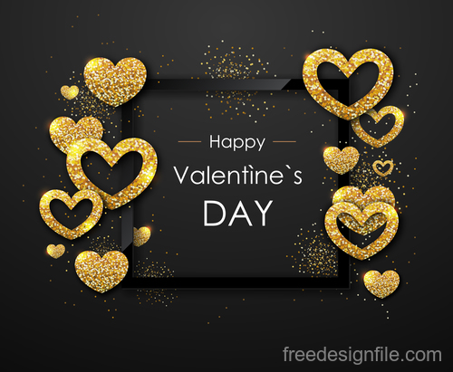 Valentines day frame with golden confetti vectors 02