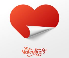 Valentines day heart sticker with white background vector