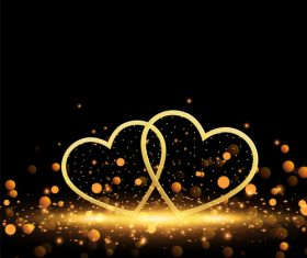 Valentines day heart with golden lights vector