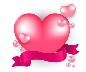 Valentines day heart with ribbons vector